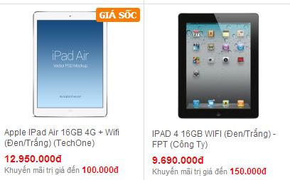 So sánh giữa iPad Air và iPad 4 có gì hơn nhau
