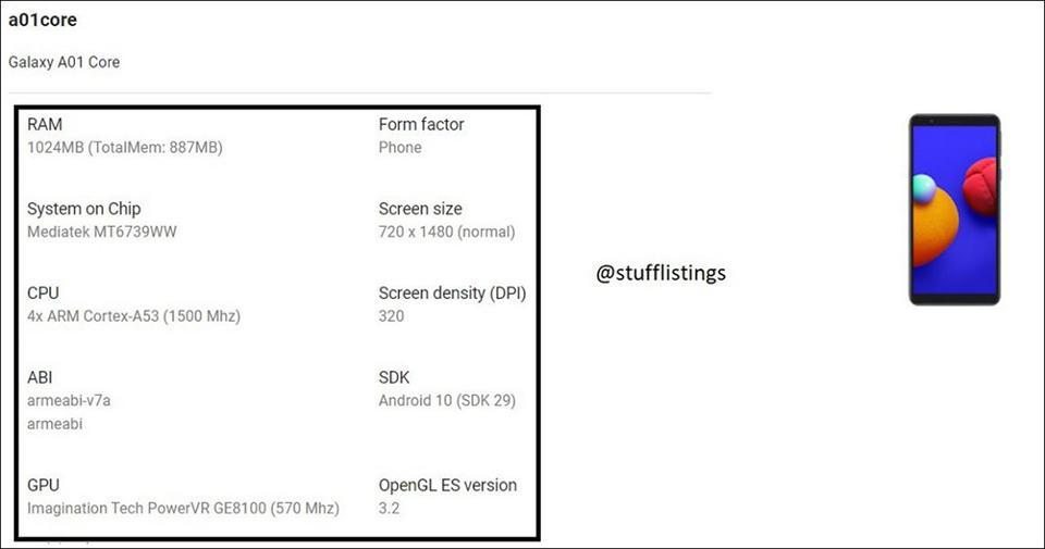 Samsung Galaxy A01 Core sử dụng SoC Mediatek thay vì Qualcomm như người tiền nhiệm