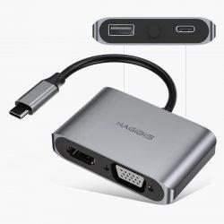 Cổng chuyển đổi Hagibis 4in1 USB-C/HDMI/VGA/USB